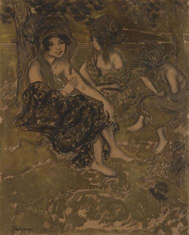 femmes orientales au bord de leau by georges manzana pissarro