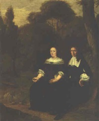 portrait of a gentleman and his wife, seated full-length in a wood by herman mijnerts doncker