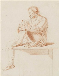 a man sitting on a table by christian leberecht vogel