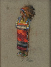 indian with blanket by tim solliday