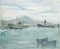 le port de pêche de tunis, en face le bou kornine by n. markoff