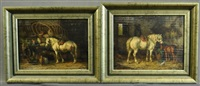 grey mare & foal; grey mare with man loading wagon (2 works) by willem jacobus boogaard