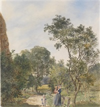 eine frau mit zwei kindern in einer parklandschaft by franz alt