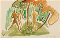 figures in a wooded interior by aaron douglas