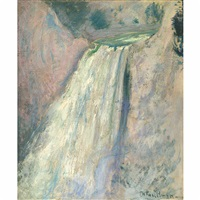 waterfall, yellowstone by john henry twachtman