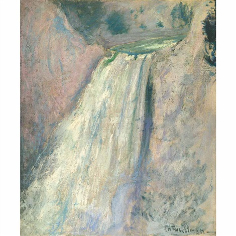 waterfall yellowstone by john henry twachtman