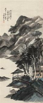 竹亭观钓 by xu lianxi