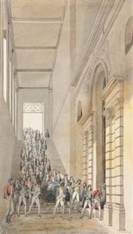 descente du cercueil de marie charles césar florimond de faÿ, comte de la tour-maubourg par l'escalier des souterrains du panthéon by pierre françois léonard fontaine