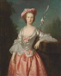 portrait of a lady as a shepherdess in a pink and white satin dress and a pink hat, her left arm resting on a plinth holding a staff, in a landscape by joseph highmore