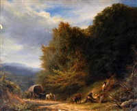 a travelling family with horse and caravan on a wooded path by william linnell