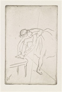 danseuse mettant son chausson by edgar degas