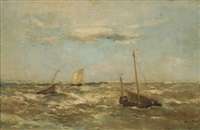 bateaux de pêche en mer by louis artan de saint-martin