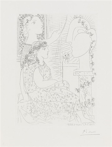 deux femmes regardant une tête sculptée pl42 from suite vollard by pablo picasso