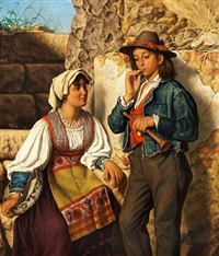 a young italian couple, he is holding a flute, she is holding a tambourine by eman. r. ginzel
