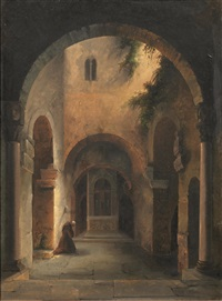 frate in preghiera davanti alla catacomba della chiesa di san giovanni a siracusa by vincenzo abbati