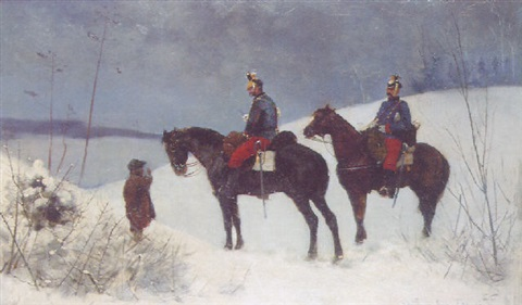 army officers riding through the snow by stanislaw poraj fabijanski