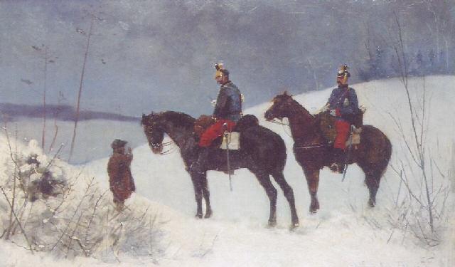 army officers riding through the snow by stanislaw poraj fabijanski