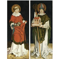 saint stephanus (+ a bishop with a model of church, saint wolfgang ?, archbishop of salzburg; pair) by georg stäber