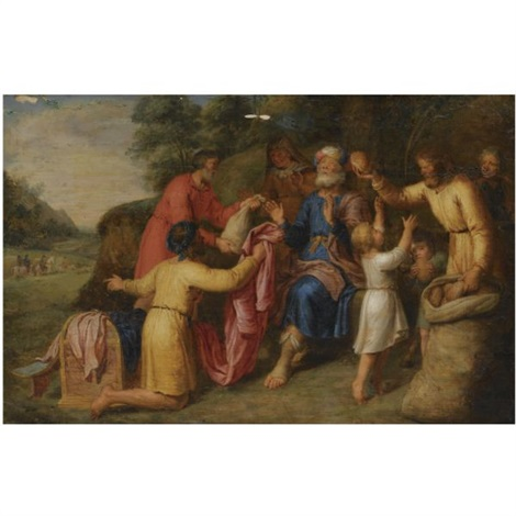 josephs brothers returning to jacob bearing gifts by pieter lastman
