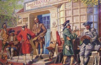 benjamin franklin's printing and bookshop, with men in colonial dress by frank reilly