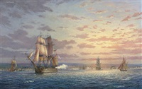 h.m.s. victory hove-to off portsmouth firing a salute to valiant sailors by s. francis smitheman