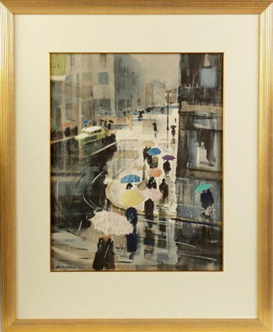 rainy street scene by ralph hillyer avery