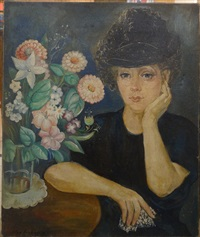 portrait de femme au bouquet by olga sacharoff