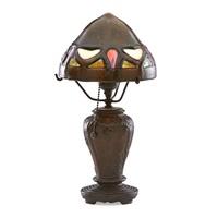 boudoir lamp with rare fulper shade on handel base by fulper pottery