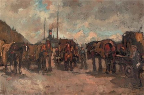 horse drawn carts on a busy quay by bernardus cornelis noltee