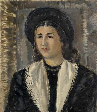 female portrait in black hat by antonina f sofronova