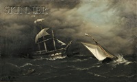 ships caught in a squall by henry e. tozer