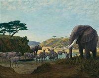 african water at dawn, elephant, oryx, zebra and rhino by arthur radclyffe dugmore