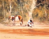untitled (man and horse resting) by robert hagan