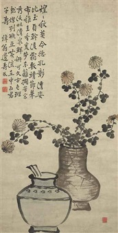 chrysanthemums and wine pot by bian shoumin