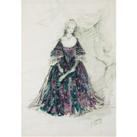 costume design for beverly sills as manon in massenet's manon, gambling scene by jose varona