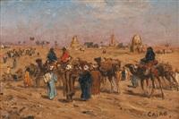 caravane en marche près du caire by edmund berninger