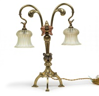 zweiflammige tischlampe by w.a.s. benson and co.