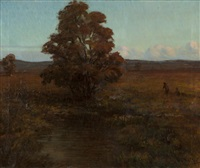 fall landscape with figures by henry leopold richter