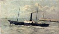 le bateau du havre se rendant à honfleur by e. leroy-calmettes