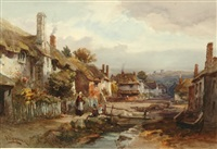 devon village by alfred leyman