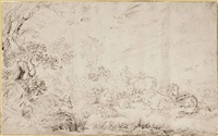 cattle, sheep and horses beside a stream by matthijs van den bergh