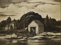 view of a boathouse by thomas willoughby nason