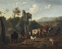 shepherds and a shepherdess driving cattle by dirk van bergen