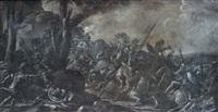 scène de bataille peinte en grisaille by francesco allegrini