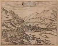 hauptansicht von innsbruck (from civitates orbis terrarum, vol. ii) by franz hogenberg