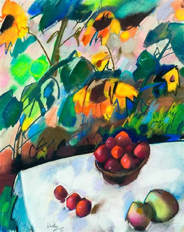 früchtestillleben vor sonnenblumen by otto herbig