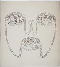 originalentwürfe für illustration der meggendorfer blätter - zeitschrift für humor und kunst, nr. 839, 68. bd. nr. 4 (6 works) by ferdinand staeger