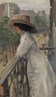 an elegant lady on a balcony, rue de clignancourt, paris by isaac israels