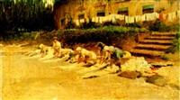 washerwomen by a river by crisanto del monaco