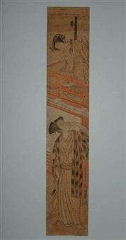 hashira-e, une dame jette une lettre à son amoureux déguisé en kamuso (pèlerin).., réf. jacob pins n°420 by isoda koryusai